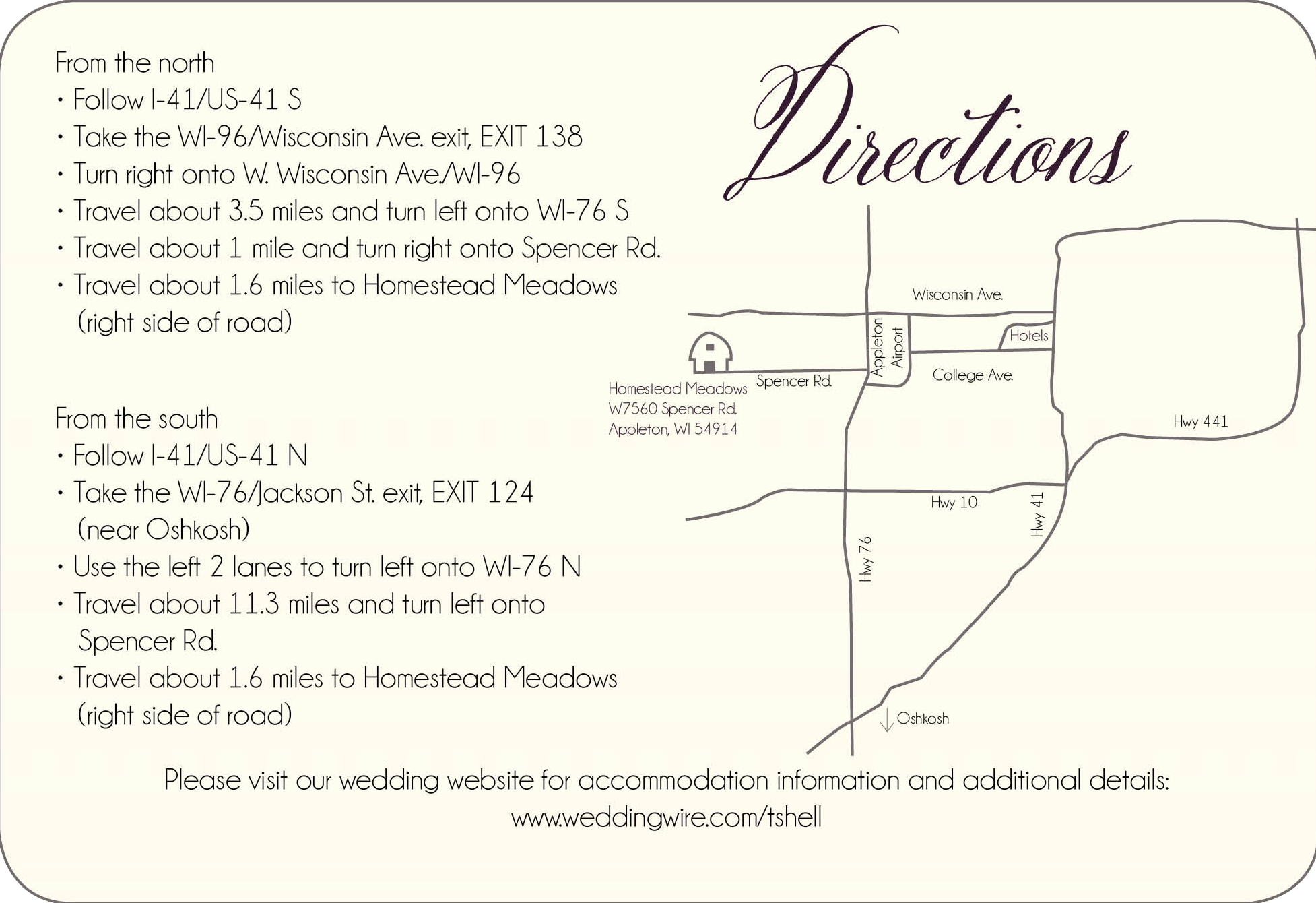 Vineyard Valley direction card