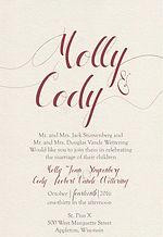Rustic yet classy farmhouse wedding invitation, metallic white gold paper