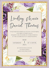 Spring wedding invitations, tulips, garden, purple and lilac