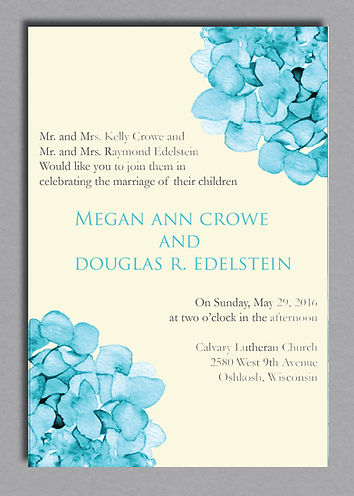 Hydrangea - Beautiful watercolor pocket invitation. Classic and modern with a hint of class.
