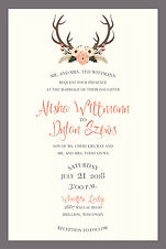 Antler, coral, fun layout, unique styling, fall wedding set