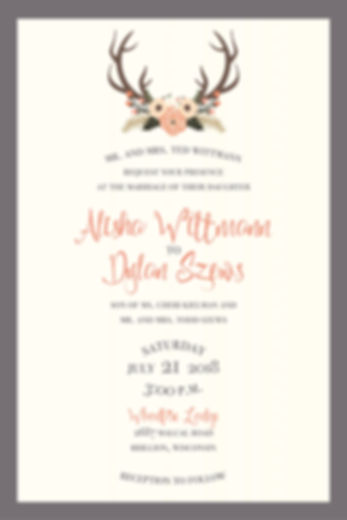 Fun and upbeat wedding suite with coral accents. Deer and floral berries