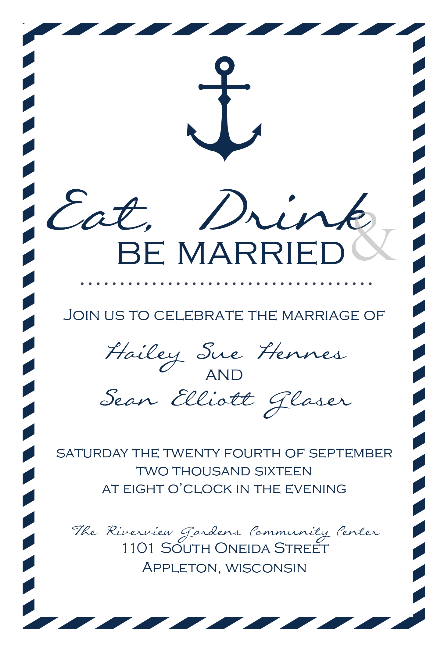 Sailing Away reception only invite