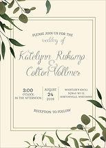 Simple greenery wedding invitation