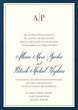 Beautiful, simple and classic navy and gold wedding invitation set