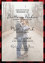 Photo and buffalo plaid wedding invitation