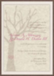 Rustic Elegance - beautiful tree invitation with a tree bark pocket and champagne matte backing. Initial in the tree for a personal touch