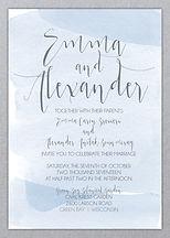 watercolor invitation, gray and blue, classy