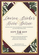 Nature-esque wedding invitation with burgundy and gold