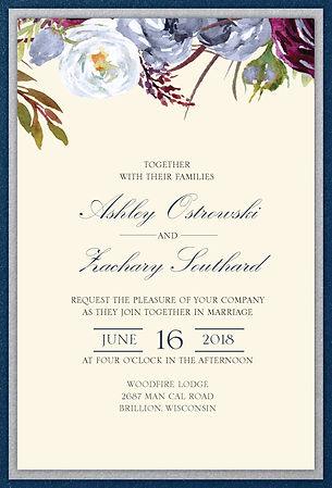 Beautiful elegant and floral with modern touhes wedding invitation suite