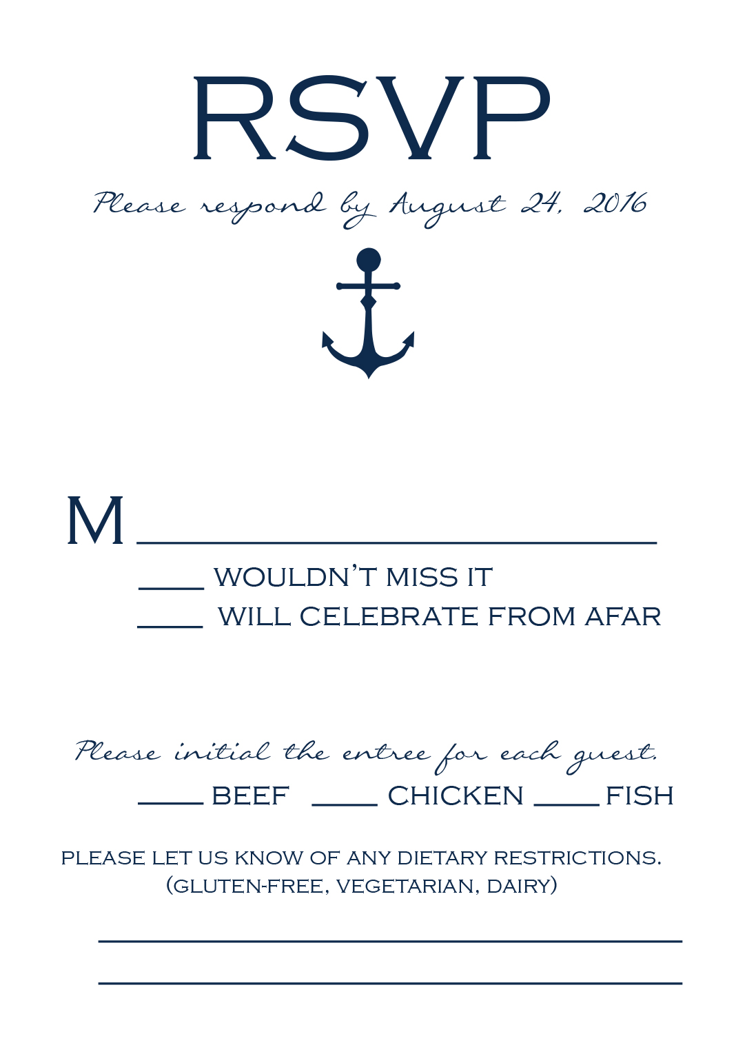 Sailing Away response card