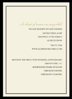 Fabulous Fifty reception card