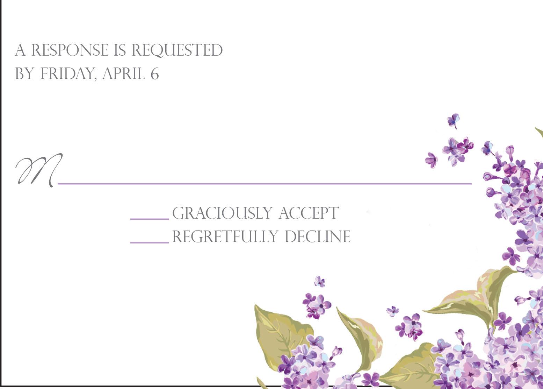 Lucious Lilacs response card