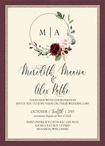 Rings and initials wedding invitation with a touch of floral