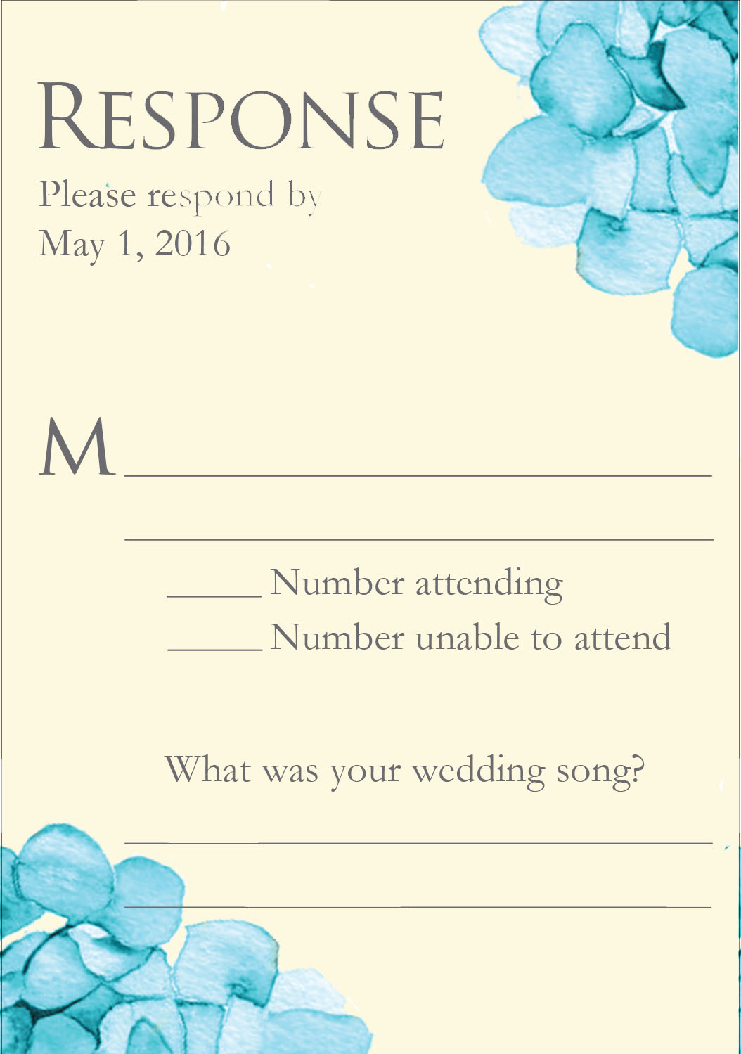 Heavenly Hydrangeas response card