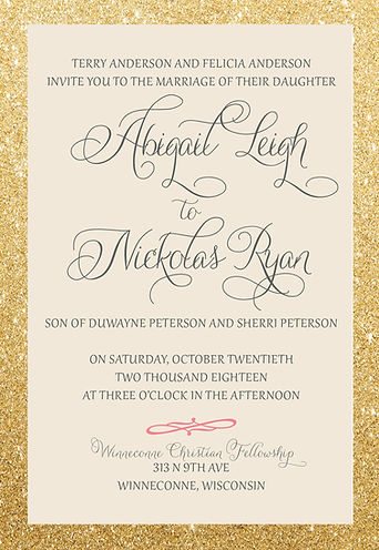 Glitter and Gold stunning wedding pocket invitaion suite Classic and elegant styling