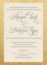 Stunning, simple, glitter gold wedding invitation
