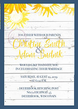 Sunflower, farmhouse style wedding invitation