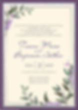Greenery and Lilac unique date wedding inviation. purple and siler