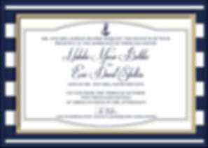 Navy Ships - an incredibly beautiful pocket invitation. Patterned paper with a touch of gold. A very elegant classic invitation for the perfect summer wedding.