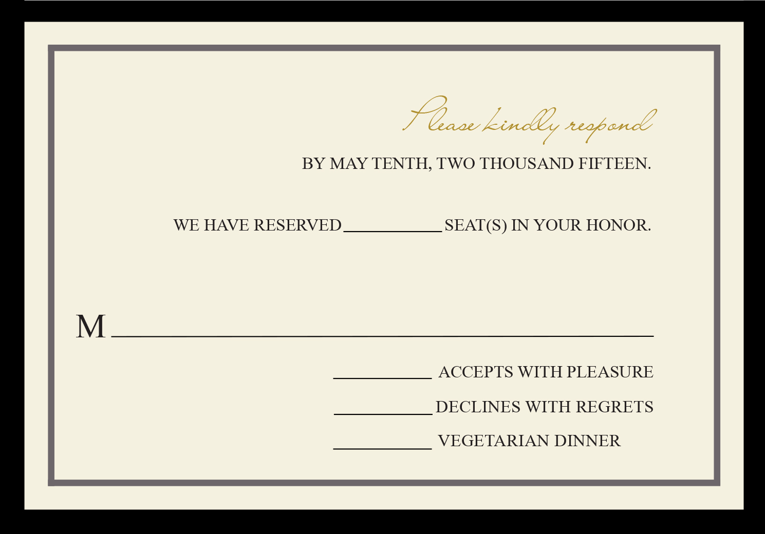 Fabulous Fifty response card