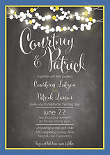 fun and edgy wedding invitation, bright cheerful, chalkboard and party lights