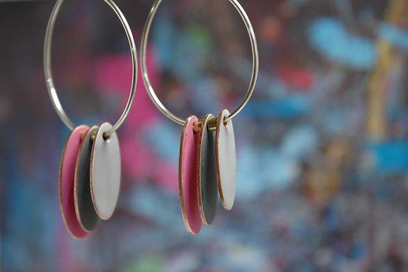 Hoops and Drops Earrings - Neon Pink/Dark Grey/Light Grey