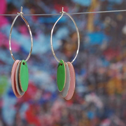 Hoops and Drops Earrings - Dusk Pink/LightGrey/Bright Green