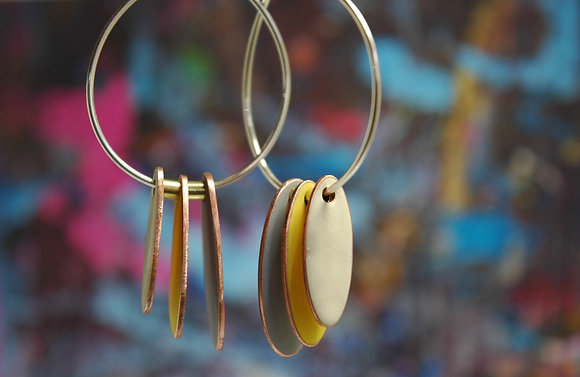Hoops and Drops Earrings - Light Grey/Yellow/Ivory