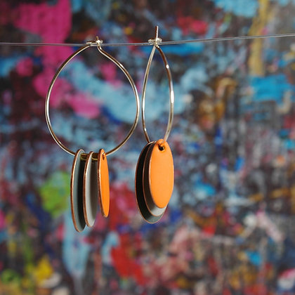 Hoops and Drops Earrings - Dark Grey/Light Grey/Orange