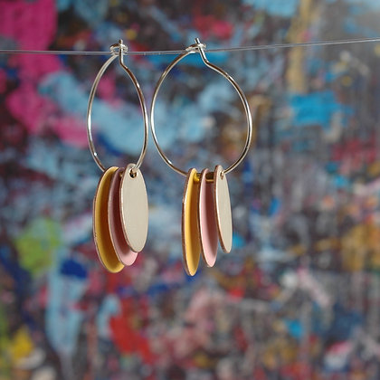Hoops and Drops Earrings - Mustard/Dusk Pink/Sand