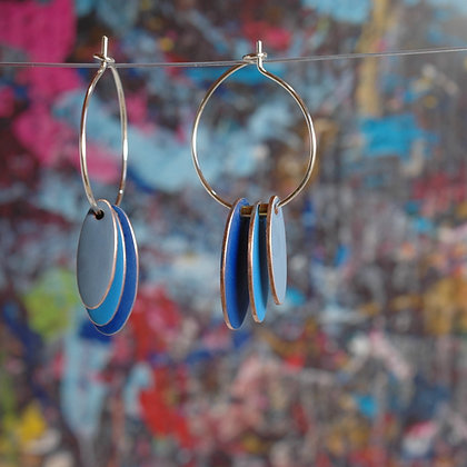 Hoops and Drops Earrings - Dark Blue/Light Blue/Pigeon Blue
