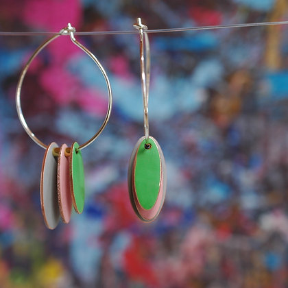 Hoops and Drops Earrings - Light Grey/Dusk Pink/Bright Green