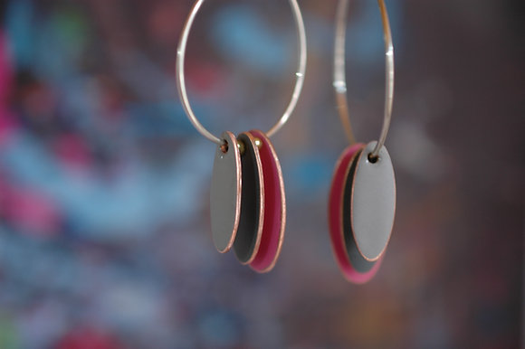 Hoops and Drops Earrings - Neon Pink/Dark Grey/Light Grey
