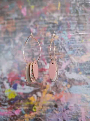 Hoops and Drops Earrings - Light Grey/White Terrazzo/Pink