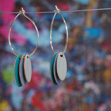 Hoops and Drops Earrings - Dark Turquoise/Pigeon Blue/Light Grey