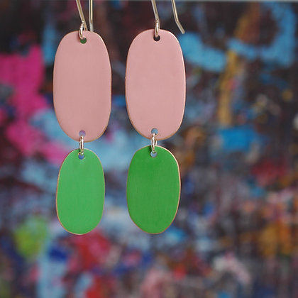 Double Drops - Dusk Pink/Bright Green