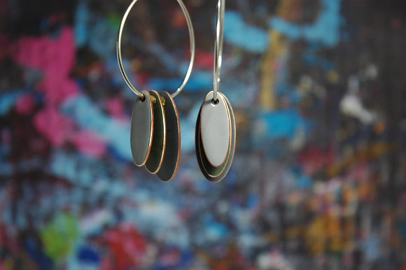 Hoops and Drops Earrings - Olive/Dark Grey/Light Grey
