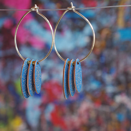 Hoops and Drops Earrings - Light Blue/Glitter