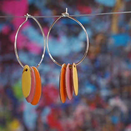 Hoops and Drops Earrings - Orange/Dusk Pink/Mustard