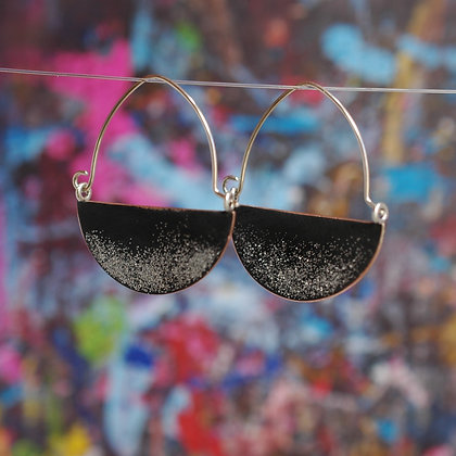 Landscape Earrings - Black Glitter