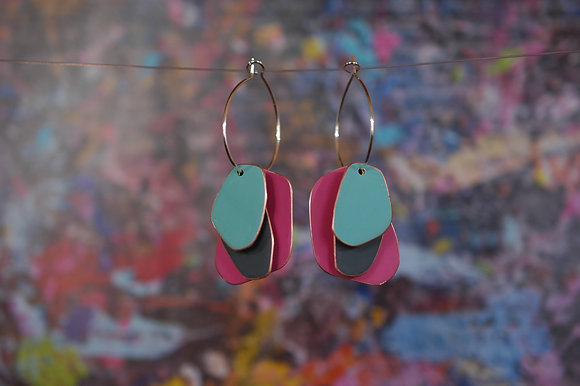Lou Drops - Neon Pink/Dark Grey/Turquoise