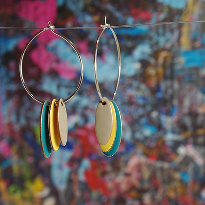 Hoops and Drops Earrings - Dark Turquoise/Yellow/Sand