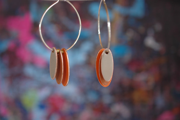 Hoops and Drops Earrings - Orange/Brown/Sand