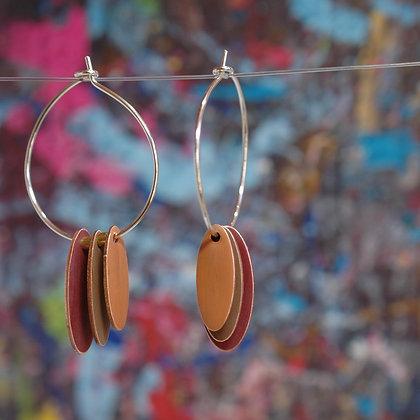 Hoops and Drops Earrings - Crimson/Brown/Cognac