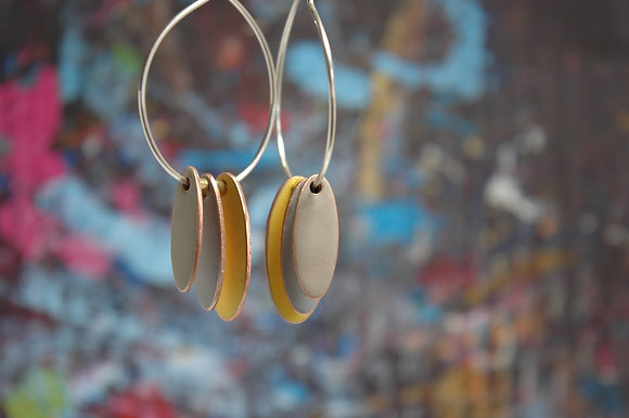 Hoops and Drops Earrings -Mustard/Light Grey/Sand