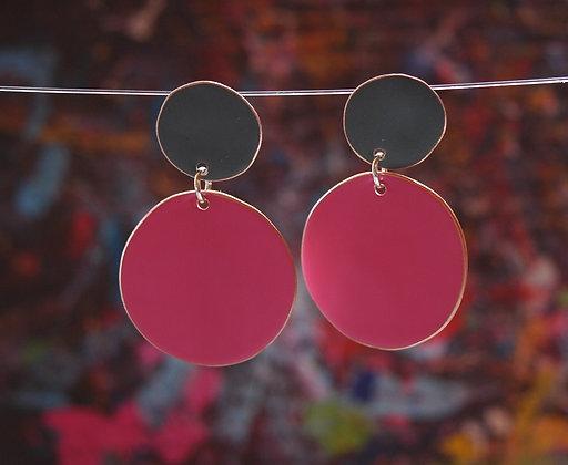Polkadots - Dark Grey/Neon Pink
