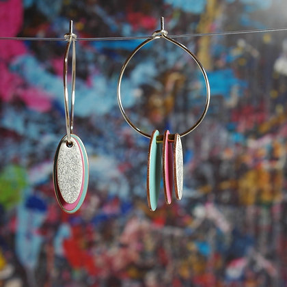 Hoops and Drops Earrings - Turquoise/Neon Pink/White Glitter