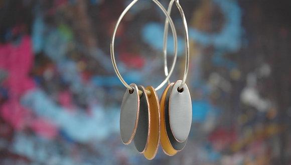 Hoops and Drops Earrings - Mustard/Dark Grey/Light Grey
