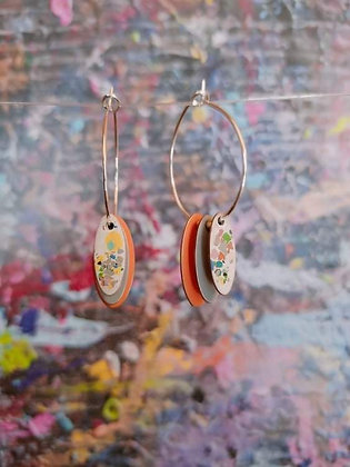Hoops and Drops Earrings - Orange/Sand/White Terrazzo